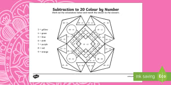Rangoli Pattern Subtraction to 20 Colour by Number - rangoli pattern, rangoli, pattern, diwali, festival of light, colour by numbers, subtraction