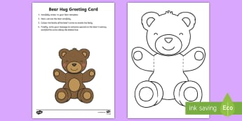 Mother's and Father's Day Bear Hug Greeting Cards - Mothers' Day, Fathers' Day, greeting card, template, bear hug, visual art, cutting, colour, dad, m