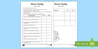 Shrove Tuesday True or False Quiz Activity Sheet - Australian Requests, shrove tuesday quiz, year 2, year one, year three, year four, investigation pan