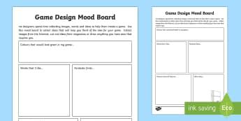 Game Design Mood Board Activity Sheet - Game DesignTechnologies Second LevelGame Design CfEMood board,craft,engineering,worksheet, graphics,