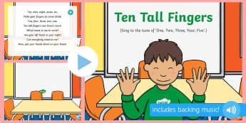 Ten Tall Fingers Song PowerPoint