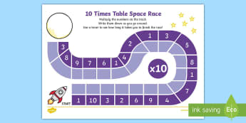Ten Times Table Space Race Activity Sheet - Requests KS1, maths, multiplcation, times, times table, x tables, 10 x table, ten times table, lots