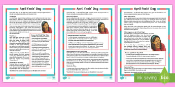 April Fools' Days KS2 Differentiated Fact File - April Fool's Day, April fool, april fools' day, 1st april, april 1st, first april, april, fool, fo
