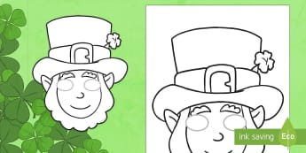 St. Patrick's Day Leprechaun Masks Role Play Mask - ROI - St. Patrick's Day Resources, St. Patrick, St. Patrick's Day, Art, Leprechaun, Mask, Colourin