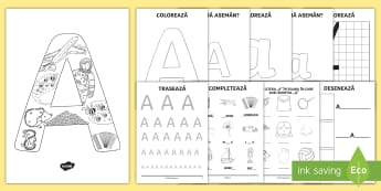 Consolidarea literei A Broșură - alfabetul, alfabetar, litere, sunete, grafisme