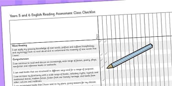 2014 Curriculum UKS2 Years 5 and 6 Reading Assessment Class Check