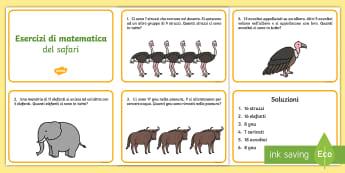Problemi di matematica del safari Attività - addizione, sottrazione, matematica, 20, operazioni, problemi ,italiano, italian, materiale, scolasti