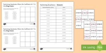 Factorising Quadratics Bingo - factorising, quadratics, double brackets.