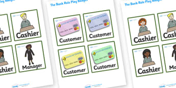 Bank Role Play Badges - Bank Role Play, banking, bank resources, money, euros, pounds, cheque book, till, cash, bank manager, cash mashine, role play, display, poster, role play badge