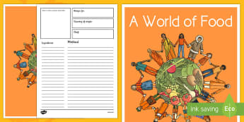 A World of Food Class Cookbook Template - cooking, cultural diversity, international foods, around the world, harmony day