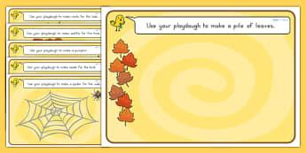 Autumn Playdough Mats - fine motor skills, seasons, weather