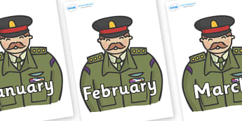 Months of the Year on Generals - Months of the Year, Months poster, Months display, display, poster, frieze, Months, month, January, February, March, April, May, June, July, August, September