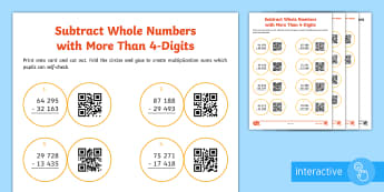 Year 5 Subtraction Code Hunter - QR Codes, subtraction, subtract, take away, calculate, twinkl go, Add and subtract whole numbers wit