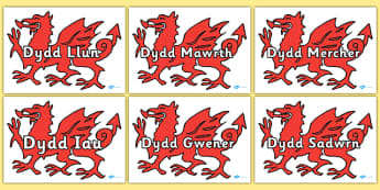Days Of The Week On Dragon Welsh Translation -translate, days