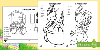 Saving Easter Colour by Number - Children's Books, easter, bunny, rabbit, eggs, colouring