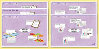 Functional Skills Data and Statistics Success Sheets - KS4, KS5, adult education, maths, numeracy, functional skills, SEN, assessment, objectives