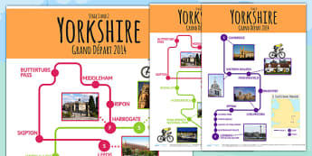 Tour de France 2014 Large England Route Maps - le tour