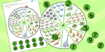 Number Matching Pegs Activity Dinosaur Themed - dinosaur, match, pegs
