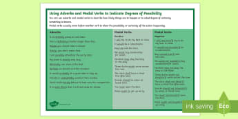 Adverbs and Modal Verbs  Word Mat - English, writing, adverb, modal verb, grammar,Australia, possibility, must, should, would, could