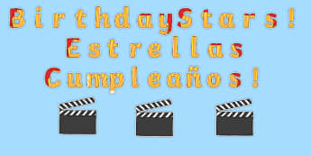 Birthday Stars Movie Clapper Board Themed Display Pack Spanish Translation - spanish, Signs and Labels, birthdays, display, months, year, films, cinema, movies