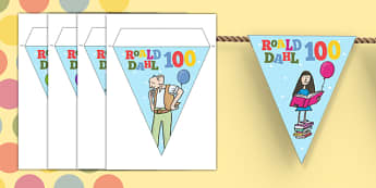 Roald Dahl 100 Display Bunting