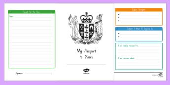 My New Zealand Passport to Next Year Writing Frames