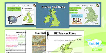 PlanIt - Geography Year 3 - The UK Lesson 2: Rivers and Seas Lesson Pack - geography, UK, county, counties, rivers