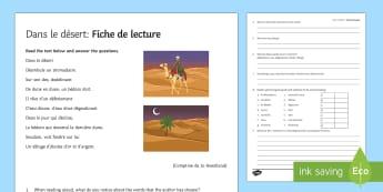 Dans le désert : Fiche de lecture en français - french, Literature, littérature, lecture, reading