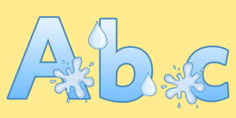 Display Lettering & Symbols (Water) - Display lettering, water, display letters, alphabet display, letters to cut out, letters for displays, coloured letters, coloured display, coloured alphabet