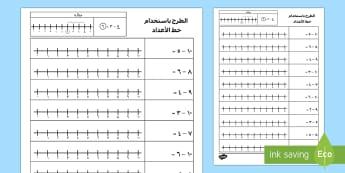 الطرح ضمن العدد 10 باستخدام خط الأعداد  - الطرح، الجمع، خط الأعداد، حساب، الطرح ضمن 10، رياضيات،