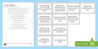 Macbeth Revision Plot Sort Activity Sheet - Secondary - English - Macbeth worksheets, revision, plot, sort