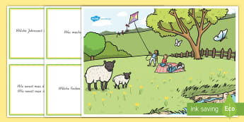 Frühling im Park Poster DIN A4 - spring, Frühling, Park, park, Kinder, children, Lamm, lamb,German