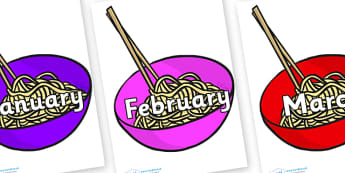 Months of the Year on Chinese Noodles - Months of the Year, Months poster, Months display, display, poster, frieze, Months, month, January, February, March, April, May, June, July, August, September