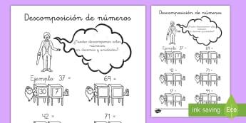 Ficha de actividad: Descomposición de números - Decenas y unidades - mates, matemáticas, ficha, actividad, decomposición, números, número, descomponer, decenas, unid