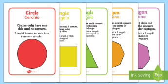 2D Shape Information Posters English/Italian - 2D Shape Information Posters - 2d shape posters, 2d shapes, shape display, 2d shape properties, shap