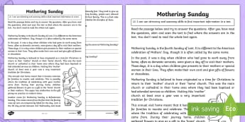 Mothering Sunday Skimming and Scanning Activity Sheet - CfE, first level, literacy, Mother's Day, Mothering Sunday, reading skills, tools for reading, skim