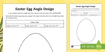 Easter Egg Angle Design Activity Sheet - Australia Easter Maths, Easter, Australia, mathematics, year 4, maths, angle, angles, draw angles, a