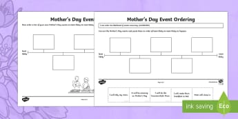 Mother's Day Event Ordering Activity Sheet - Mother's Day Maths, maths, mother, mother's day, mum, Worksheet Keywords, mothers day activities,