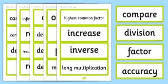 Year 6 2014 Curriculum Fractions Decimals and Percentages Vocab