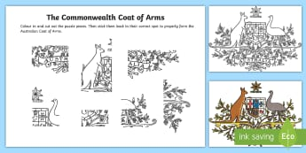 Commonwealth Coat of Arms Cutting Skills Activity Sheet - commonwealth, coat of arms, australia, australian coat of arms, coat of arms, government,Australia