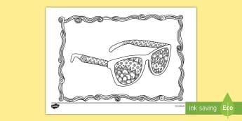 Sunglasses Mindfulness Colouring Page - glasses, sun, shades, beach, sunshine, protection,