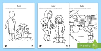 Suitable Clothes for Weather Types Activity Sheet Gaeilge - ROI, Clothes, Gaeilge, weather, vocabulary, vocab, worksheet, words, phrase, language, Éadaí, wet,