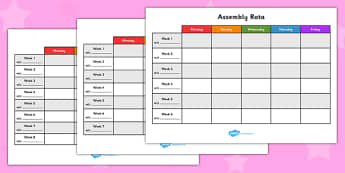 Assembly Rota - assembly, rota, schedule, topics, timetable