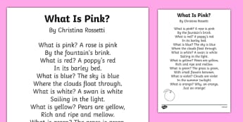 What Is Pink? by Christina Rossetti Poem Print-Out