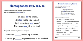 Homophones To Two Too Worksheet - homophones to two too, worksheet, homophones, homophone, to, two, too, worksheet, work sheet, grammar, English