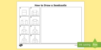 How to Draw a Sandcastle - - draw, sandcastle, art, seaside, beach, draw,