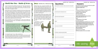 First World War Battle of Arras Differentiated Reading Comprehension Activity - CfE, Scotland, Scottish, history, world, war, people in the past, past societies, great war, western