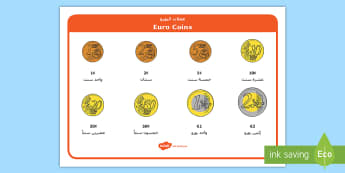 Euros Coin Word Mat Arabic/English -  EAL, Arabic, translation, money, europe, european union, currency, euro, €, money, display, refer