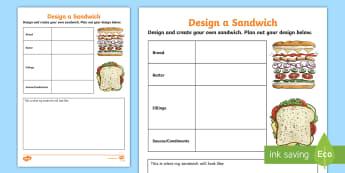 Design a Sandwich Planning Activity Sheet - food production, food design technology, design process, food, worksheet
