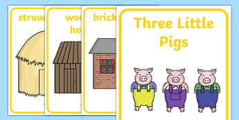 The Three Little Pigs Display Posters - the three little pigs, display posters, posters, posters for display, classroom display, information posters